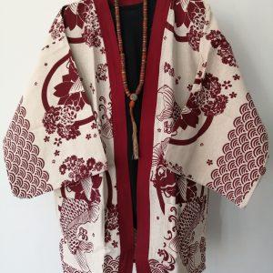 White Japanese Haori with Red Koi Fish UK Haori UK Japanese Haori UK Japanese Yukata UK Japanese clothing UK Japanese fashion UK animetal