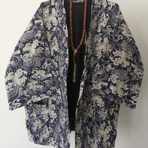Navy Japanese Haori with Waves and Wind UK Haori UK Japanese Haori UK Japanese Yukata UK Japanese clothing UK Japanese fashion UK animetal